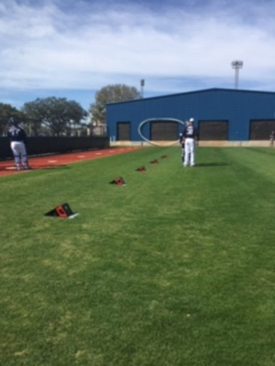 Five Rapsodo measuring devices track the metrics of every pitch thrown on the back fields of Tiger Town in Lakeland, Florida, as part of the Tigers' increased commitment to analytics.