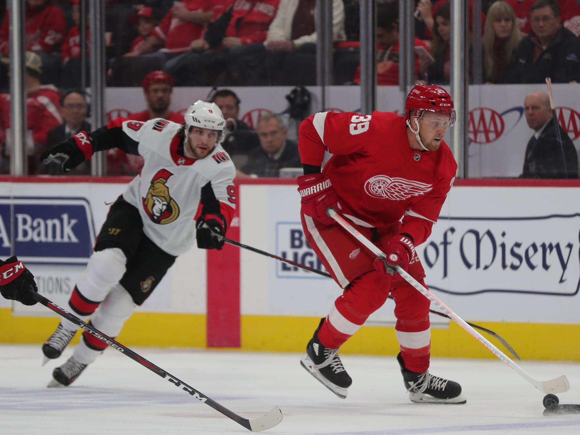 Anthony Mantha skates against the Ottawa Senators on Thursday, Feb. 14, 2019 at Little Caesars Arena in Detroit. The Red Wings won, 3-2.
