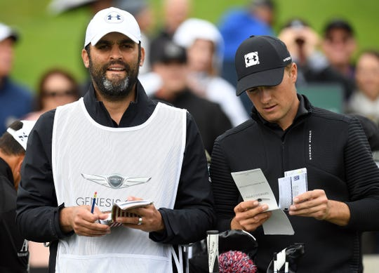 Jordan Spieth with caddie Michael Greller during the Genesis Open tournament at Riviera Country Club in Pacific Palisades, Calif., Feb. 14, 2019.