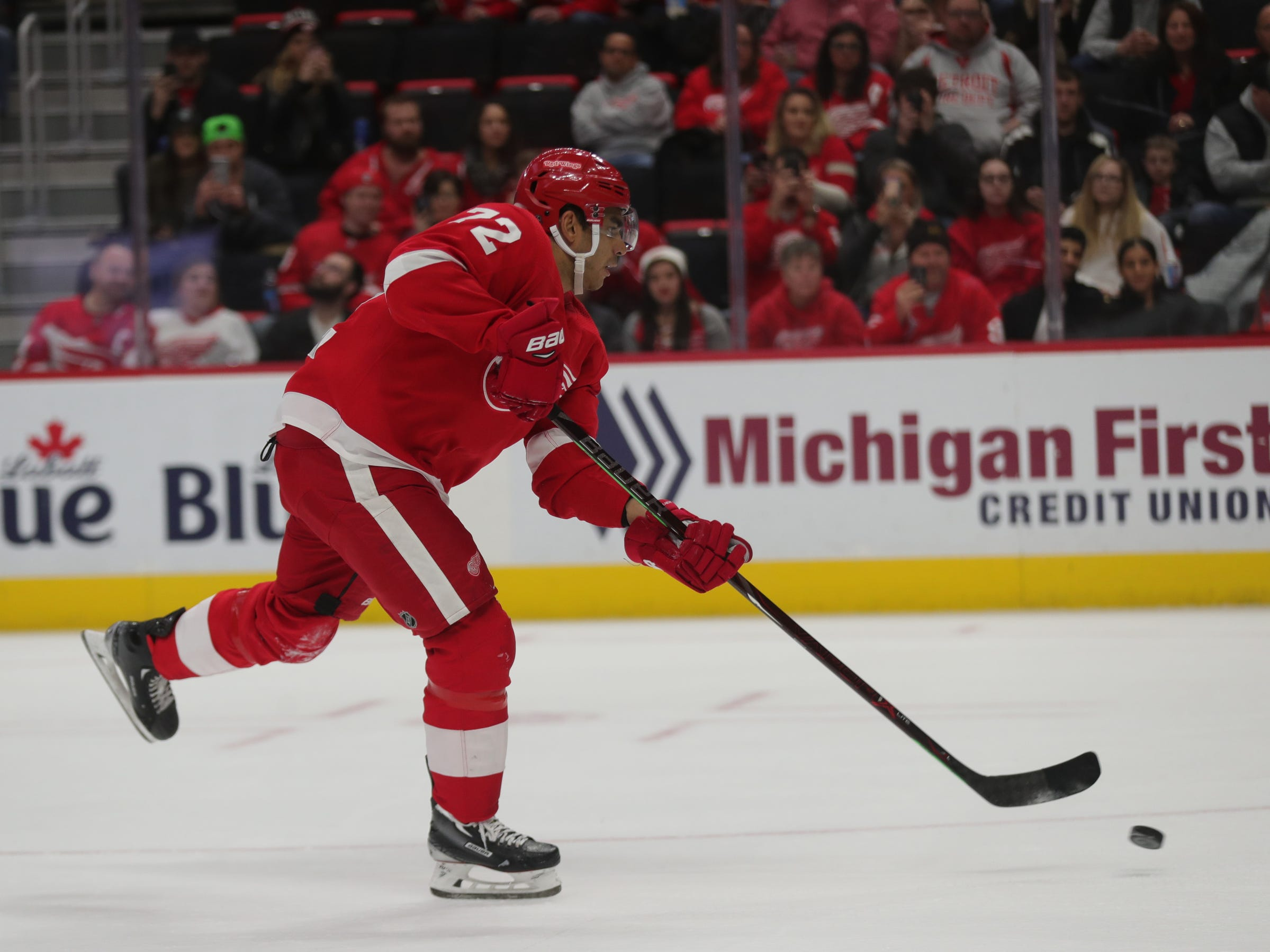 The Red Wings' Andreas Athanasiou scores on a penalty shot in the first period on Feb. 14, 2019 at Little Caesars Arena in Detroit.