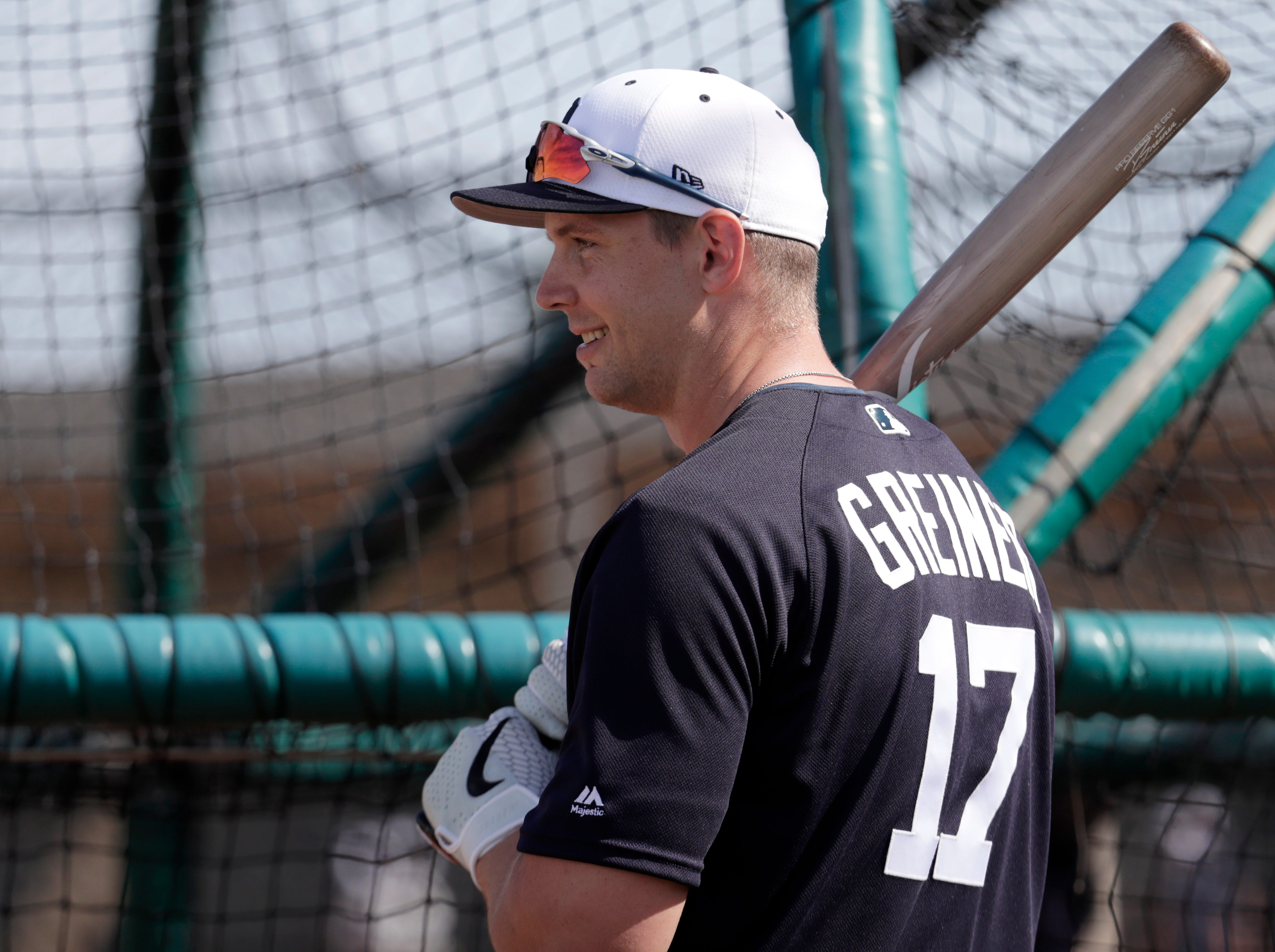Detroit Tigers catcher Grayson Greiner (17) waits to bat at the Detroit Tigers spring training baseball facility, Friday, Feb. 15, 2019, in Lakeland, Fla.