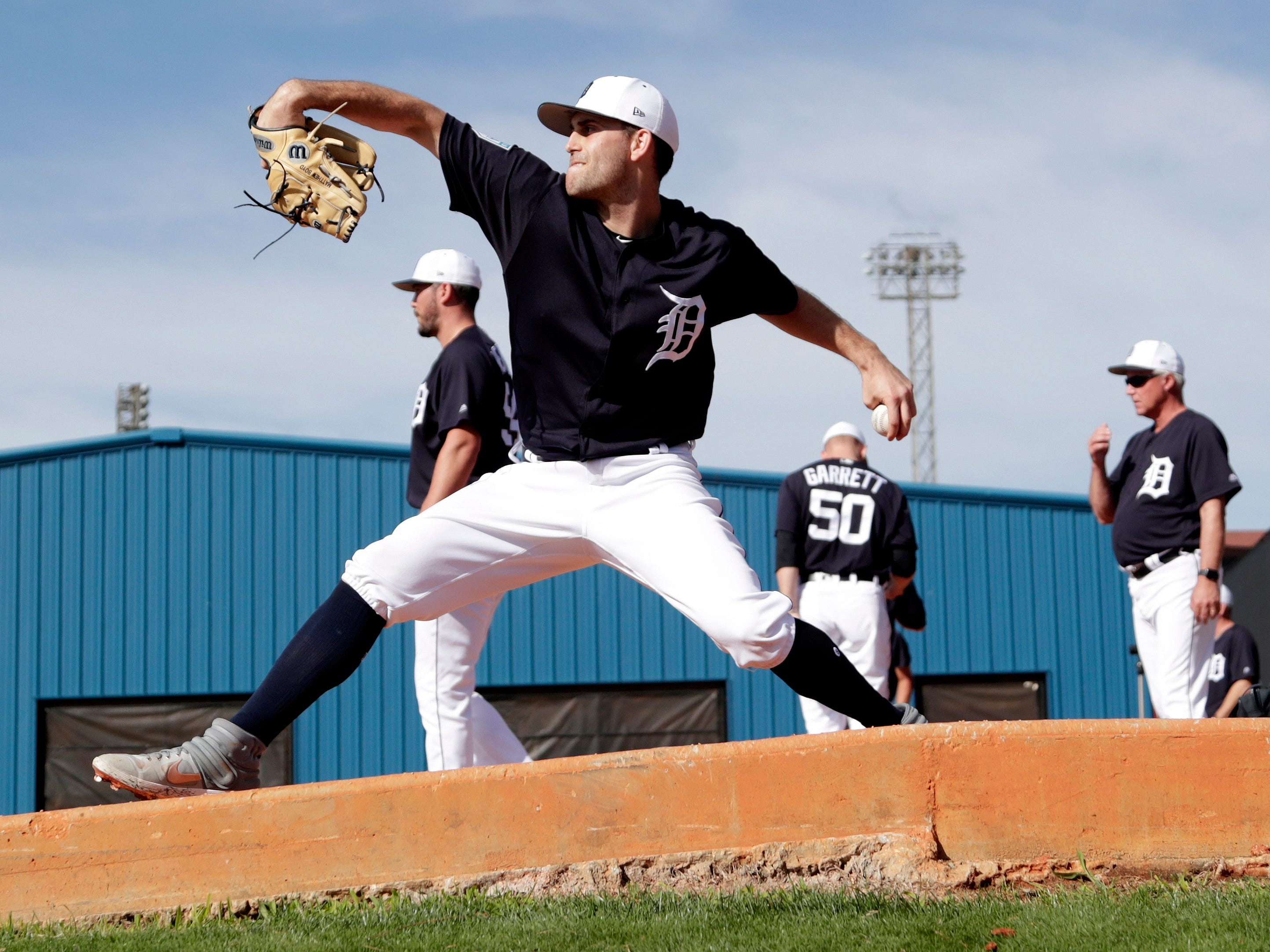 Detroit Tigers starting pitcher Matthew Boyd throws in the bullpen at the Detroit Tigers spring training baseball facility, Friday, Feb. 15, 2019, in Lakeland, Fla.