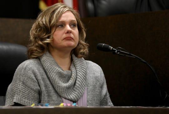 Warren Fitzgerald High School teacher Sara Sonnenfeld testifies in the preliminary examination of Tanaya Lewis on Feb. 15 at 37th District Court in Warren.