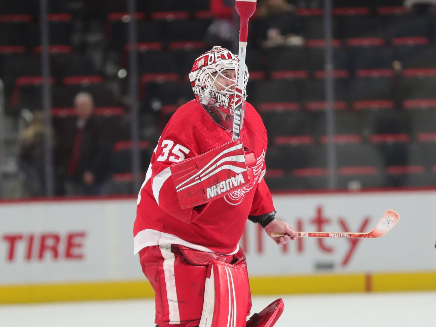 Detroit Red Wings goalie Jimmy Howard completed his 500th career game against the Ottawa Senators on Thursday, Feb. 14, 2019 at Little Caesars Arena in Detroit.