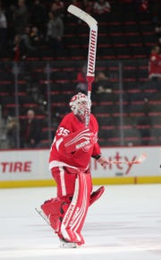 Detroit Red Wings goalie Jimmy Howard completed his 500th career game against the Ottawa Senators on Thursday, Feb. 14, 2019 at Little Caesars Arena in Detroit.