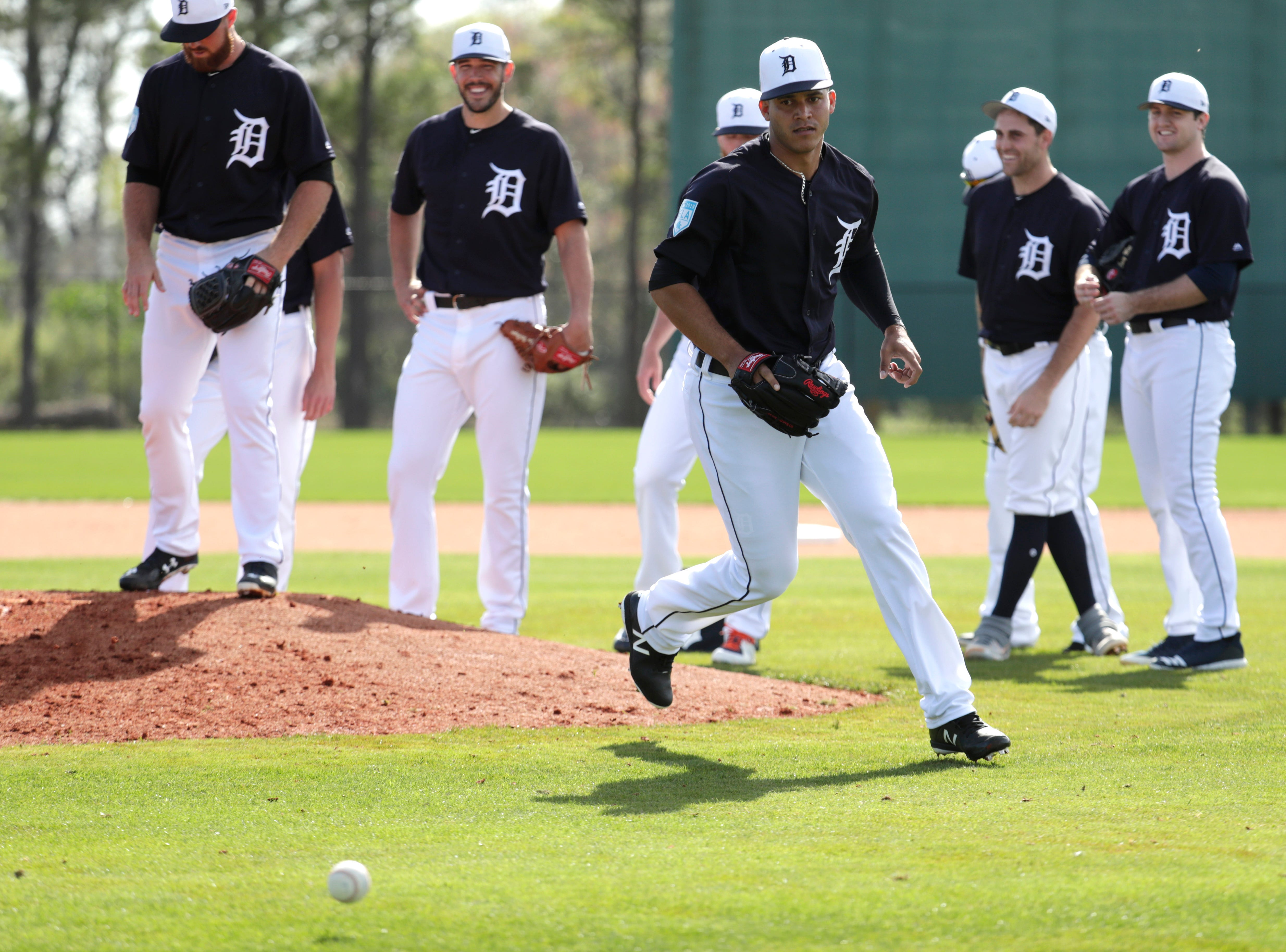Detroit Tigers relief pitcher Jose Fernandez does drills at the Detroit Tigers spring training baseball facility, Friday, Feb. 15, 2019, in Lakeland, Fla.