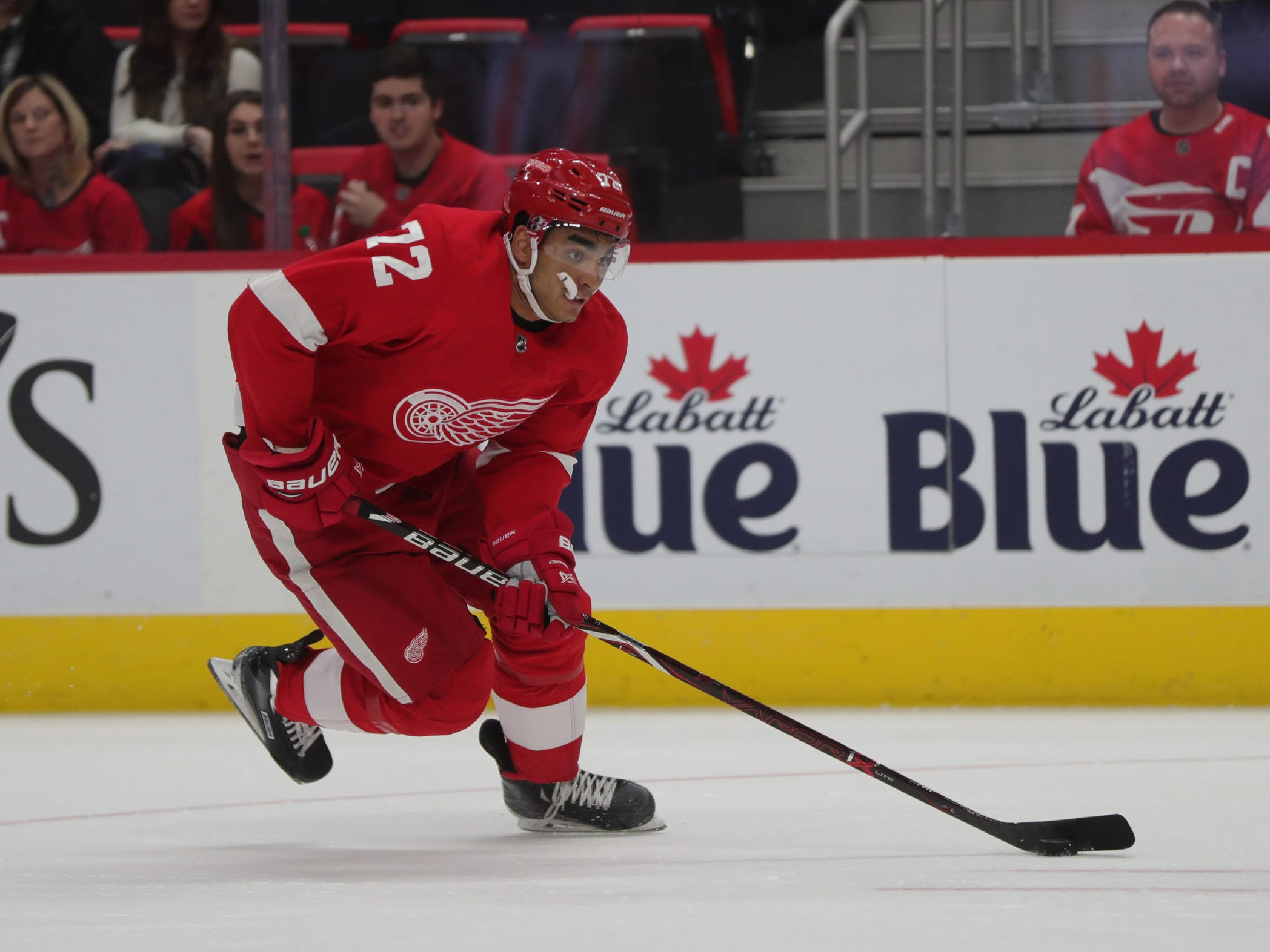 Detroit Red Wings forward Andreas Athanasiou skates against the Ottawa Senators on Thursday, Feb. 14, 2019, at Little Caesars Arena in Detroit.