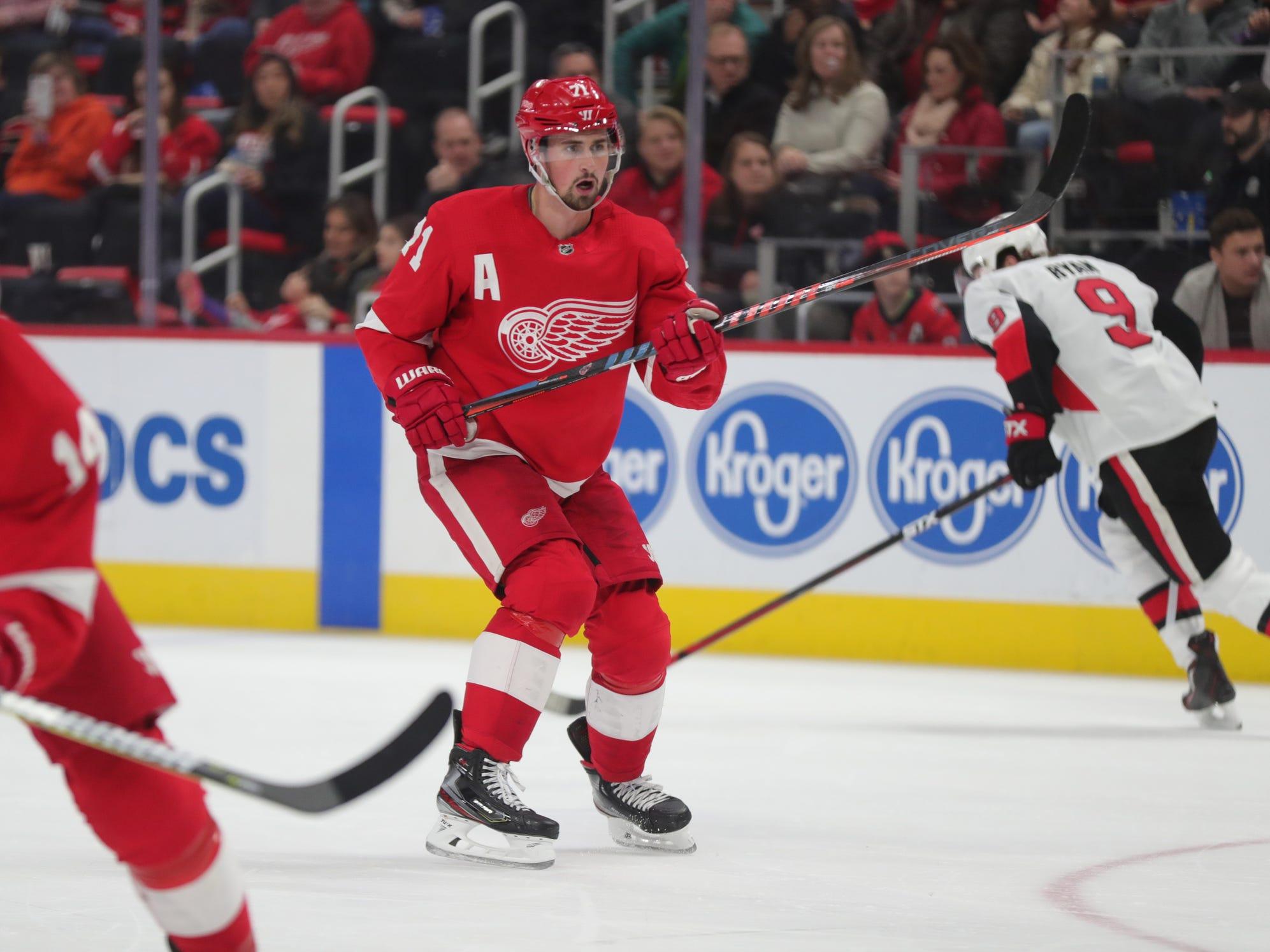 Detroit Red Wings center Dylan Larkin skates against the Ottawa Senators in the third period on Feb. 14, 2019, in Detroit.