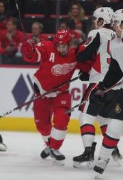Red Wings center Dylan Larkin skates against the Ottawa Senators duringon Feb. 14, 2019 at Little Caesars Arena in Detroit.