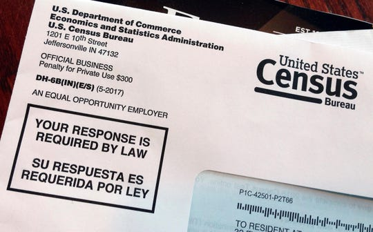 This March 23, 2018, file photo shows an envelope containing a 2018 census letter mailed to a U.S. resident as part of the nation's only test run of the 2020 Census.