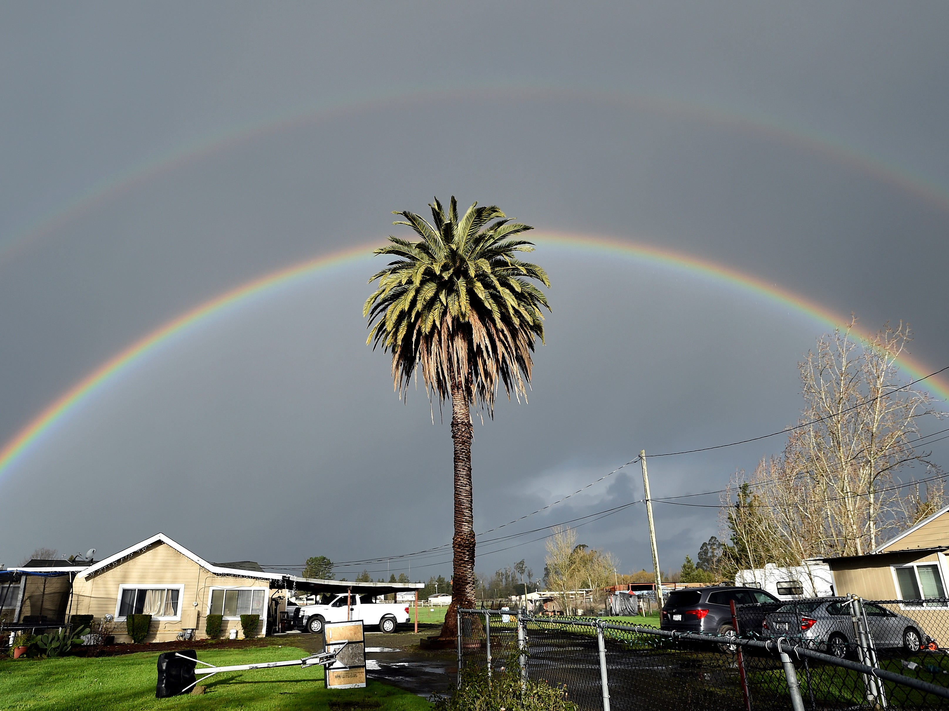 A double rainbow arcs over a palm tree in Santa Rosa, Calif., on Friday, Feb. 15, 2019. In California, rainwater continued to drain from saturated landscapes even as a new system moved into northern areas of the state and more heavy snow fell in the Sierra Nevada.