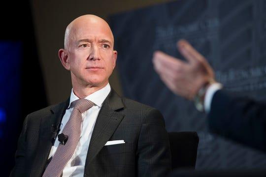 In this Sept. 13, 2018, file photo Jeff Bezos, Amazon founder and CEO, speaks at The Economic Club of Washington's Milestone Celebration in Washington.