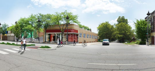 This is an artist's depiction of a rehabilitated Kresge building at 14300 E. Jefferson Ave. that would house an Alma Kitchen restaurant and new offices for Jefferson East Inc.