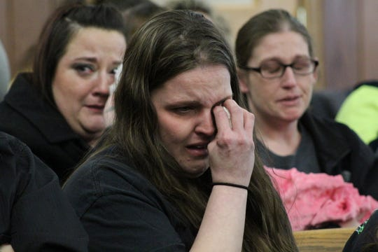 Jennifer Bogle, Heather Bogle's sister, cries in court Wednesday as detail of Heather's death are presented.