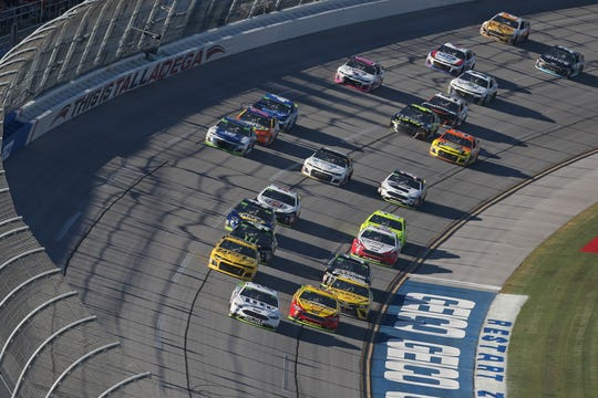 TALLADEGA, AL - OCTOBER 14:  Brad Keselowski, driver of the #2 Miller Lite Ford, leads during the Monster Energy NASCAR Cup Series 1000Bulbs.com 500 at Talladega Superspeedway on October 14, 2018 in Talladega, Alabama.  (Photo by Matt Sullivan/Getty Images)