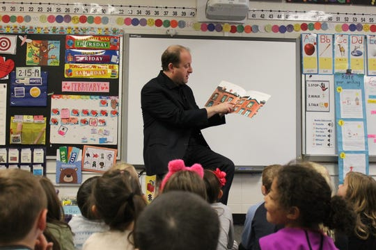 Gov. Jared Polis stopped by Beattie Elementary School to read to kindergarten class Friday, Feb. 15 prior to a town hall at Blevins Middle Scool. His proposed budget includes a plan to fund full-day kindergarten.