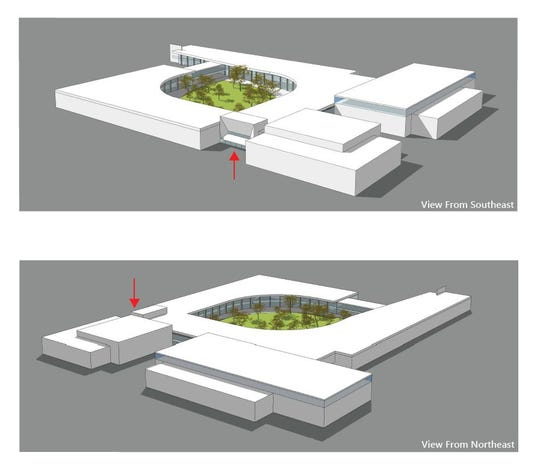 Schematic designs show a view of the new Wellington middle/high school.