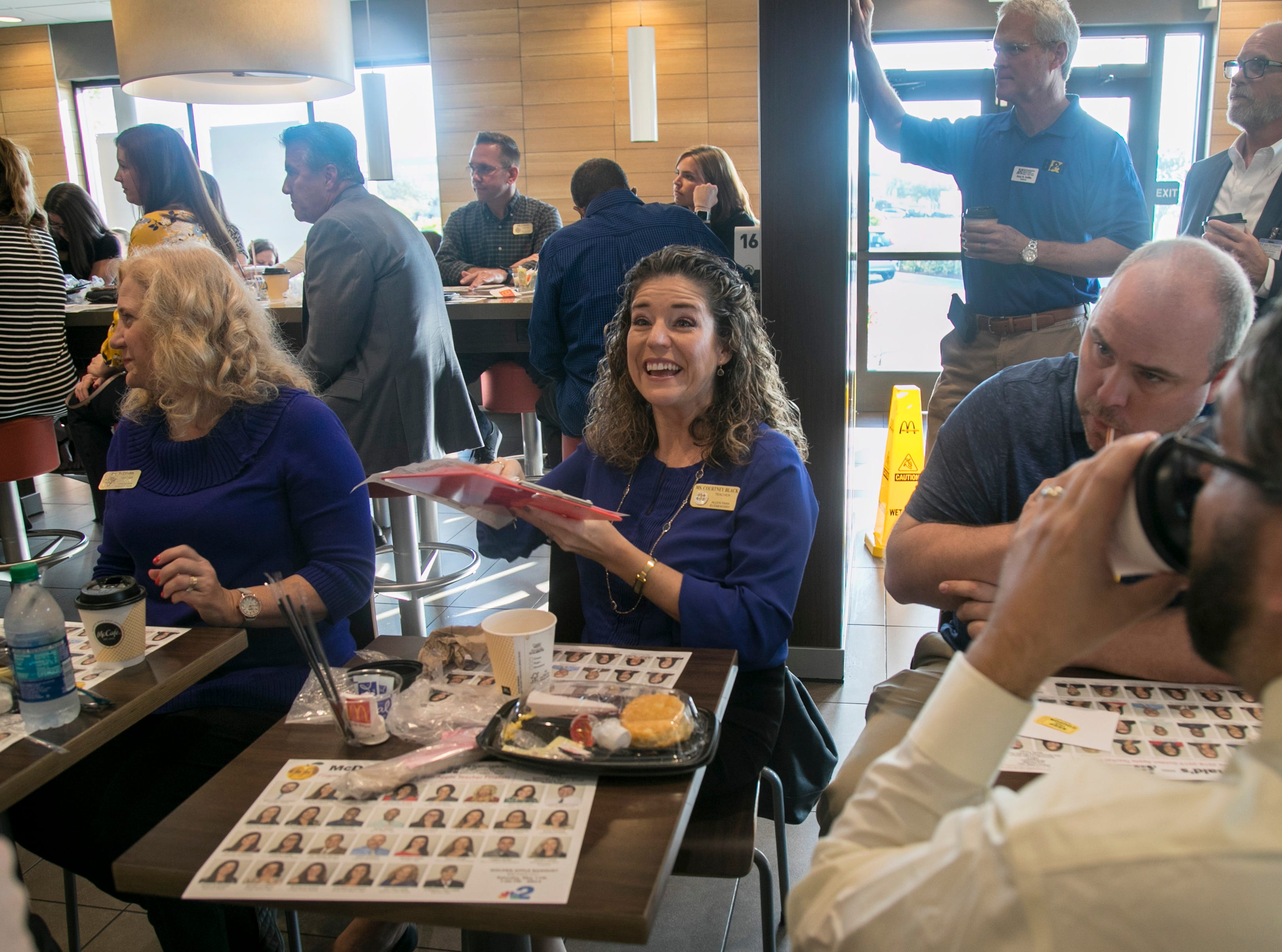 Golden Apple Teacher finalists, Lee County School Board members, Foundation for Lee County Public Schools board members and sponsors attended the annual Golden Apple Teacher Recognition breakfast at McDonaldÕs on Colonial Boulevard in Fort Myers on Friday, Feb. 15, 2019.