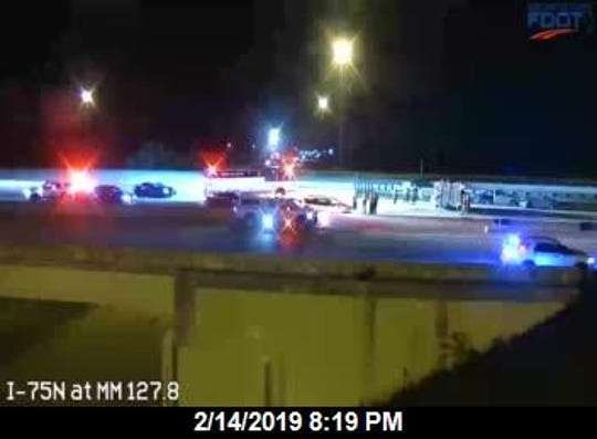 A truck with a trailer and two other vehicles were involved in a crash on the northbound lanes of I-75 over Alico Road Thursday night, shutting the freeway down for a time.