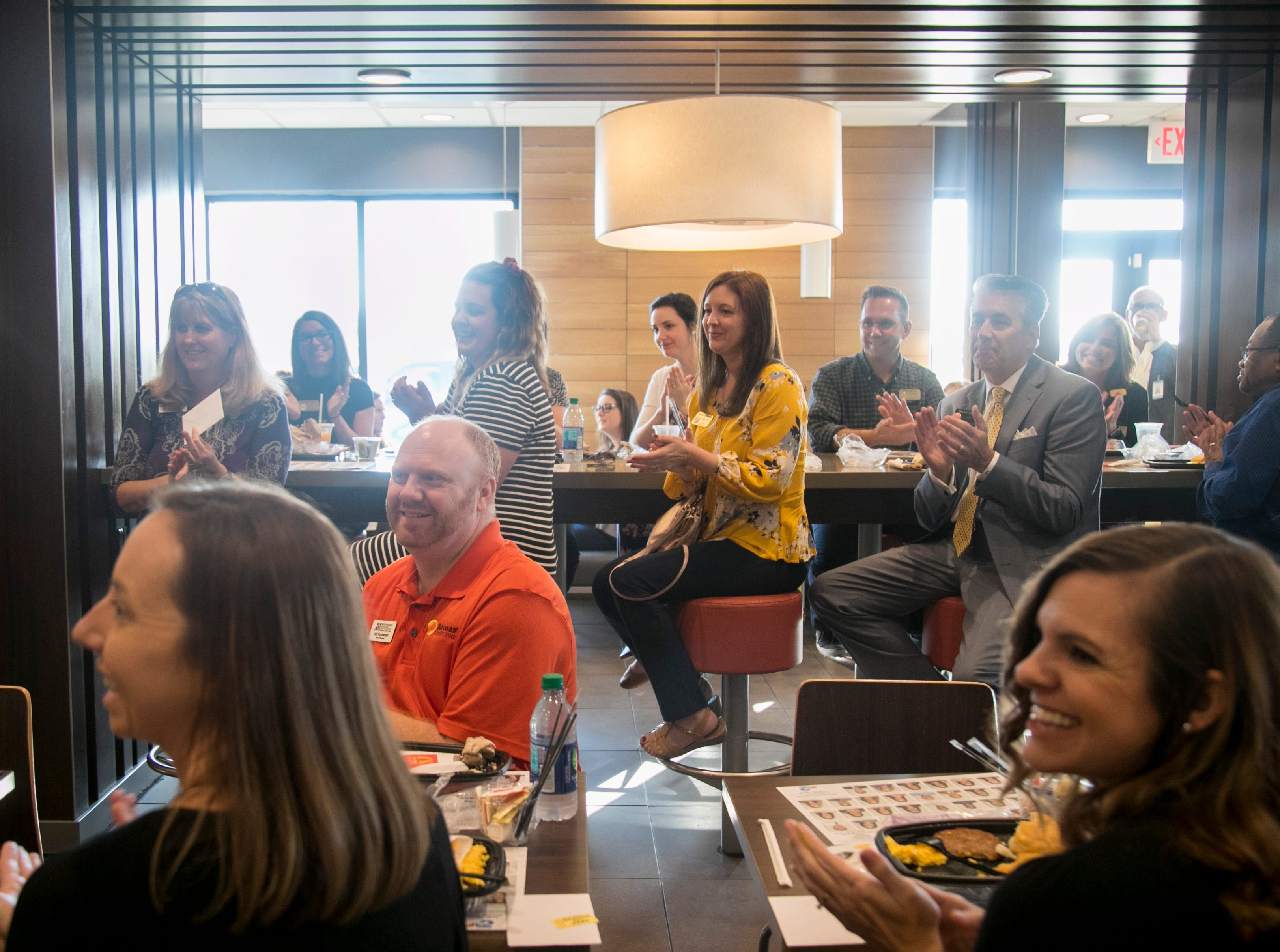 Golden Apple Teacher finalists, Lee County School Board members, Foundation for Lee County Public Schools board members and sponsors attended the annual Golden Apple Teacher Recognition breakfast at McDonald's on Colonial Boulevard in Fort Myers on Friday, Feb. 15, 2019.