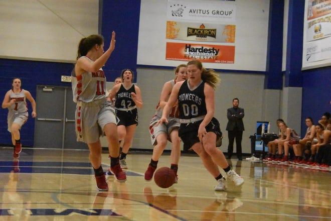Dakota Dosch of Miles Community College drives to the basket during a recent game in Miles City.