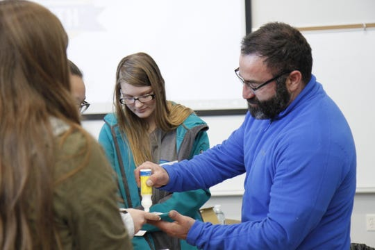 """Mario Martinez represented the Carpenters Union at """"Girls in STEM"""" and said he enjoys helping young students find their career pathway"""