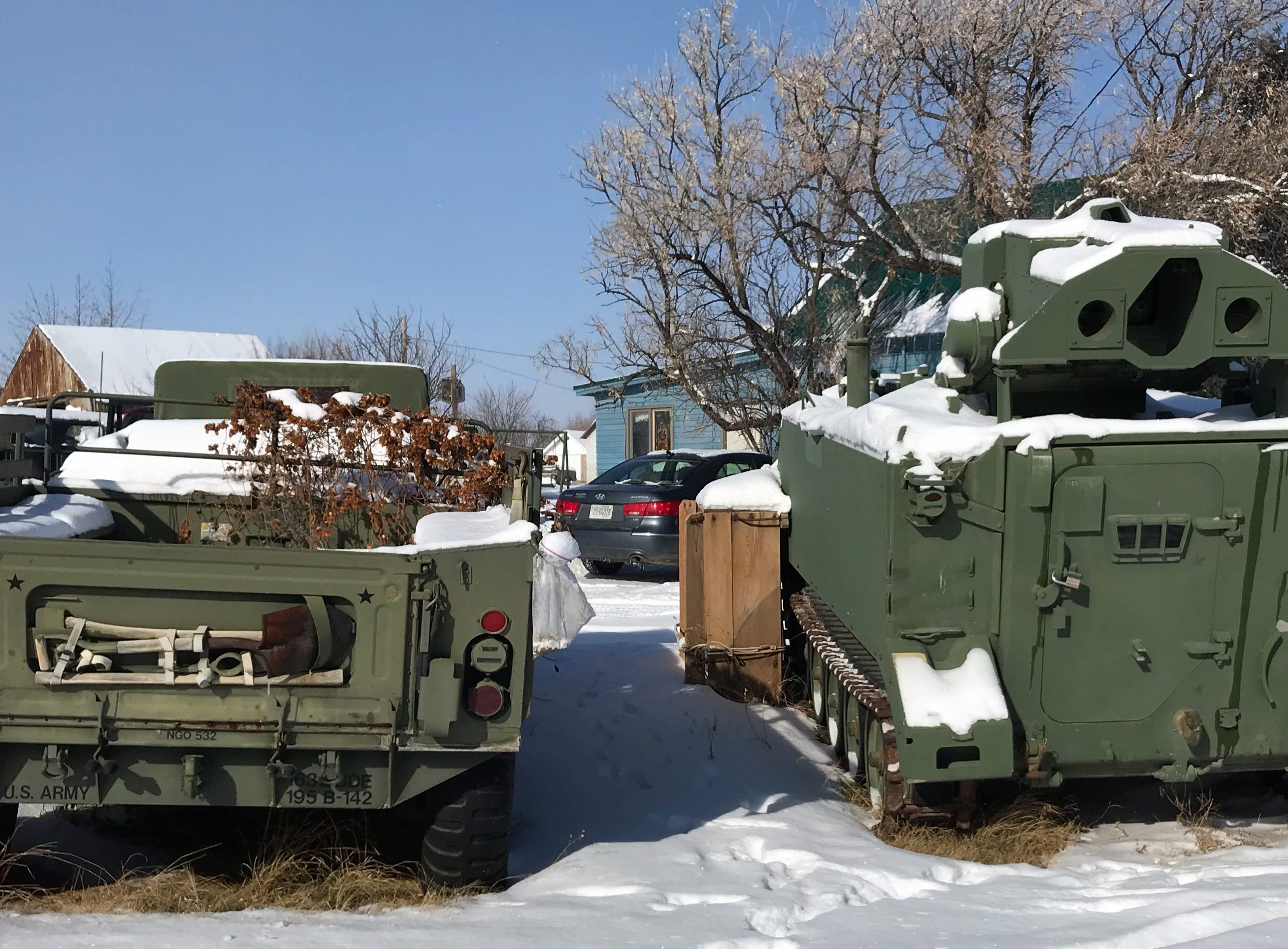 Military vehicles in Sweetgrass.
