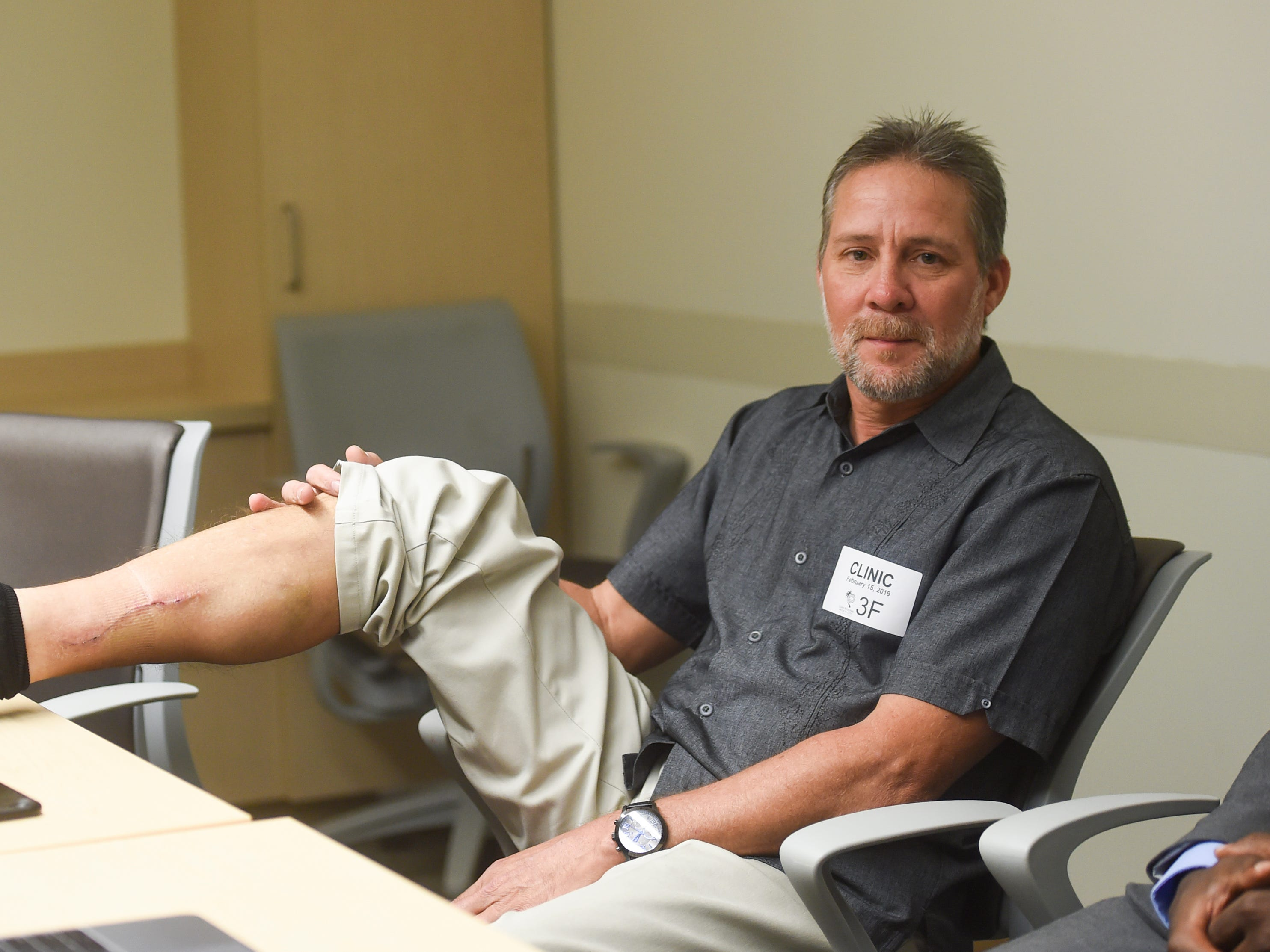 Cano Collazo-Cruz, 56, shows the area on his right leg where Drs. Kwasi Nyame and Noel Silan performed their Jan. 17 surgery to remove a tumor, at the Guam Regional Medical City on Feb. 15, 2019.