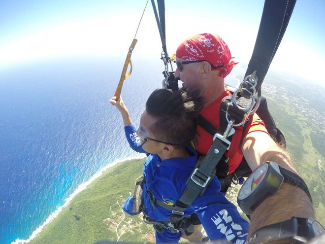 The Guam Visitors Bureau was thrilled to join Skydive Guam Inc. in celebrating Tandem Skydive Instructor Vasili Mlandinov's 26,000th jump on Feb. 9. Skydive Guam hosted a Håfa Adai Pledge renewal ceremony that included a momentous jump from 14,000 feet in the air. Mlandinov has been skydiving for close to 50 years and a Guam resident for 20 years.