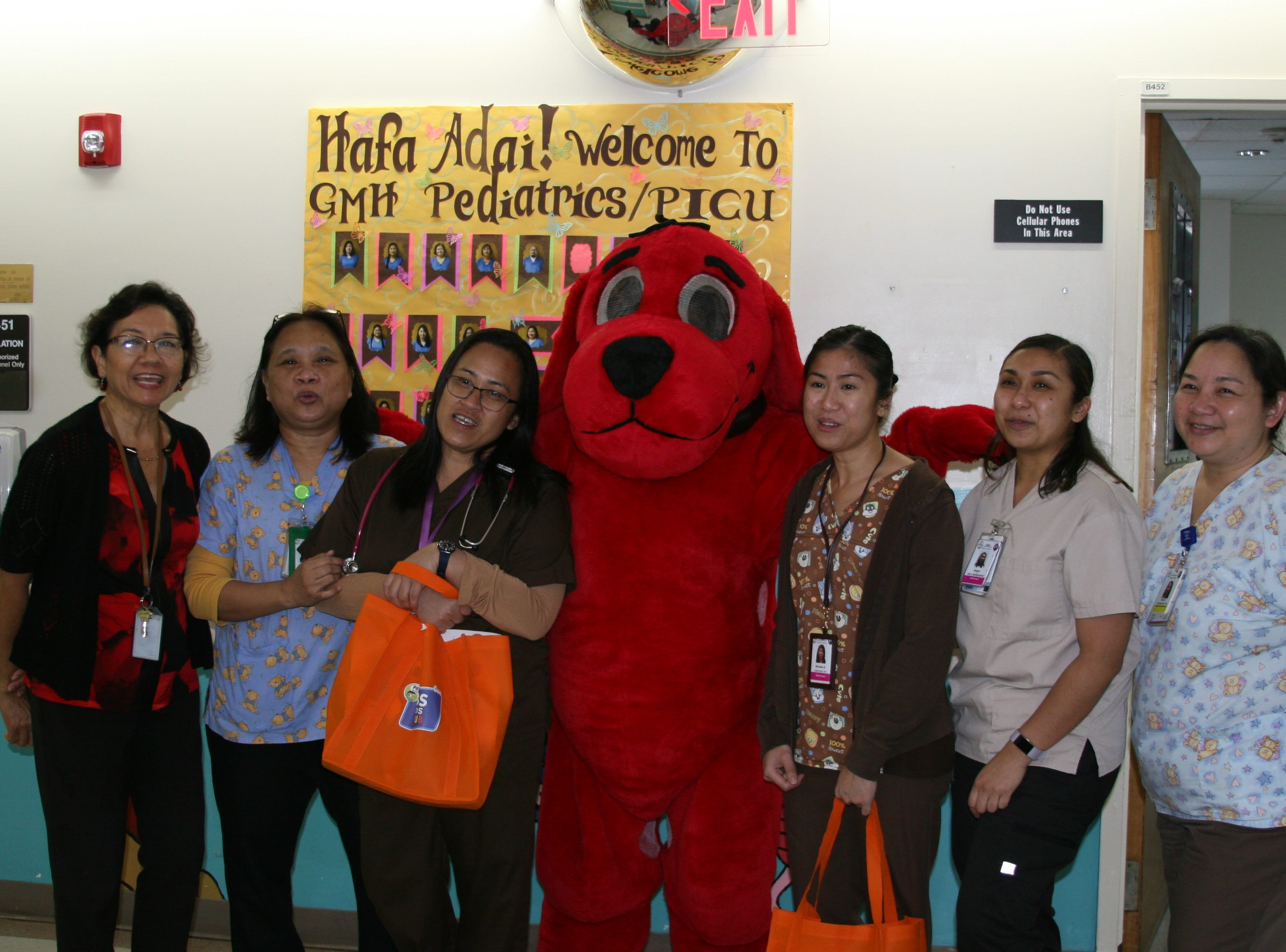 Clifford the Big Red Dog visited the Guam Memorial Hospital on Feb. 14, 2019 as part of an outreach by PBS Guam to visit children at the hospital.