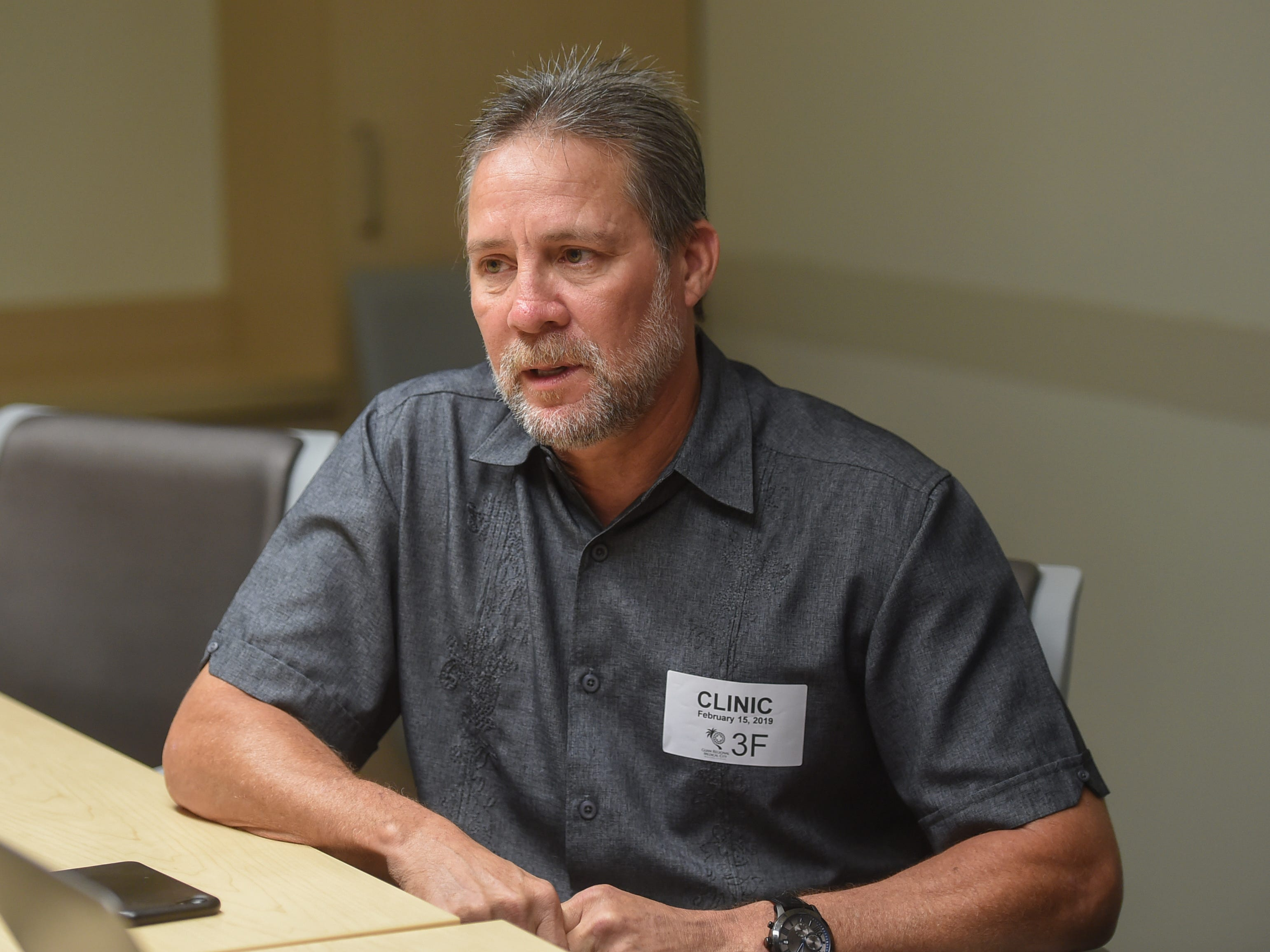 Cano Collazo-Cruz, 56, discusses the surgery that removed a tumor from a nerve in his right leg at the Guam Regional Medical City on Feb. 15, 2019.