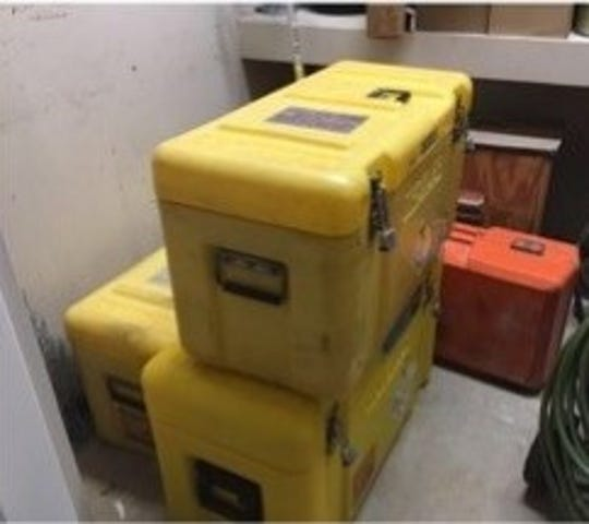 A Troxler nuclear density gauge was stolen from a work site in Jackson County on Feb. 15, 2019, in Jackson County. The gauge, which harmful contains radioactive material, was in a yellow container like the ones pictured in this photo.