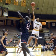 Southern Miss guard Cortez Edwards places to ball to the basket in a game against UTSA in Reed Green Coliseum on Thursday, February 14, 2019.