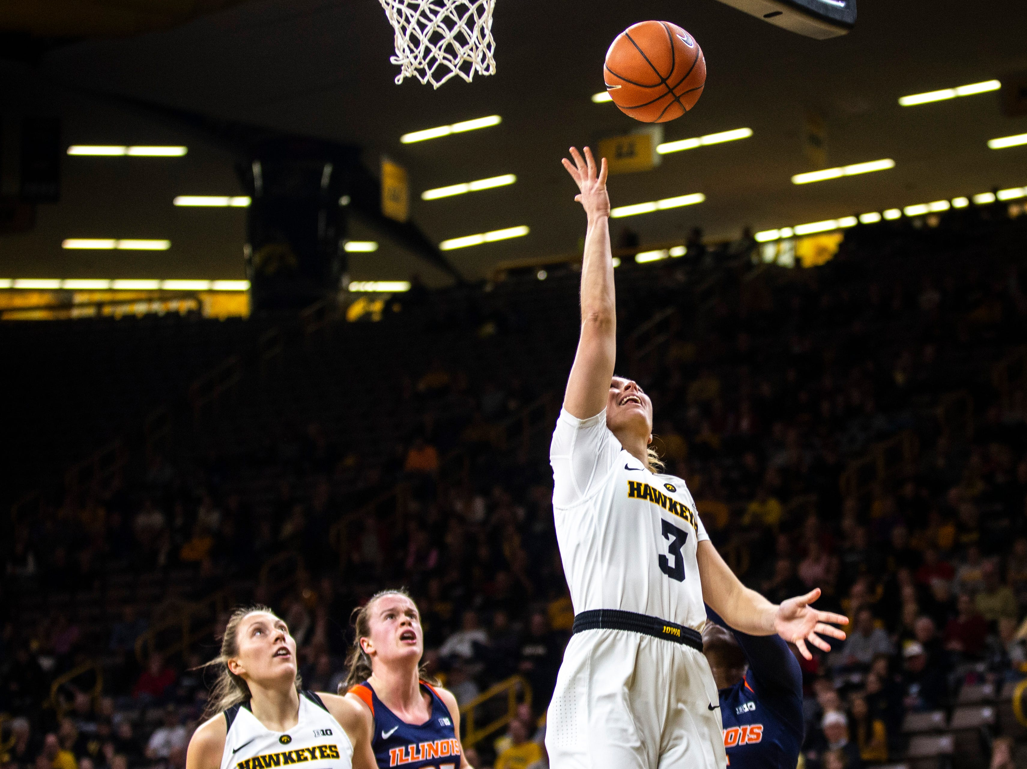 Iowa guard Makenzie Meyer (3) attempts a layup during a NCAA Big Ten Conference women's basketball game on Thursday, Feb. 14, 2019 at Carver-Hawkeye Arena in Iowa City, Iowa.