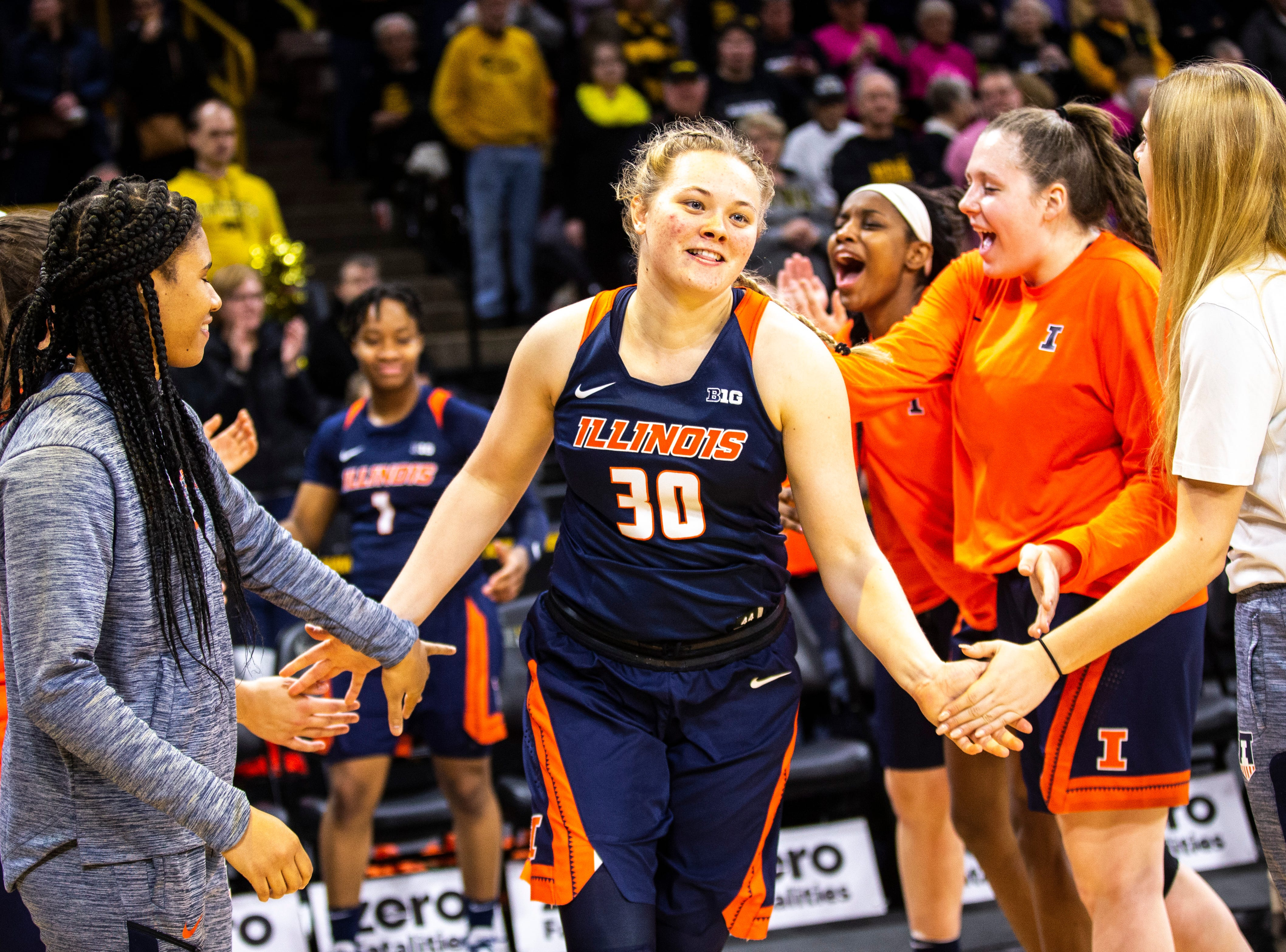 Illinois guard Courtney Joens is introduced during a NCAA Big Ten Conference women's basketball game on Thursday, Feb. 14, 2019 at Carver-Hawkeye Arena in Iowa City, Iowa.