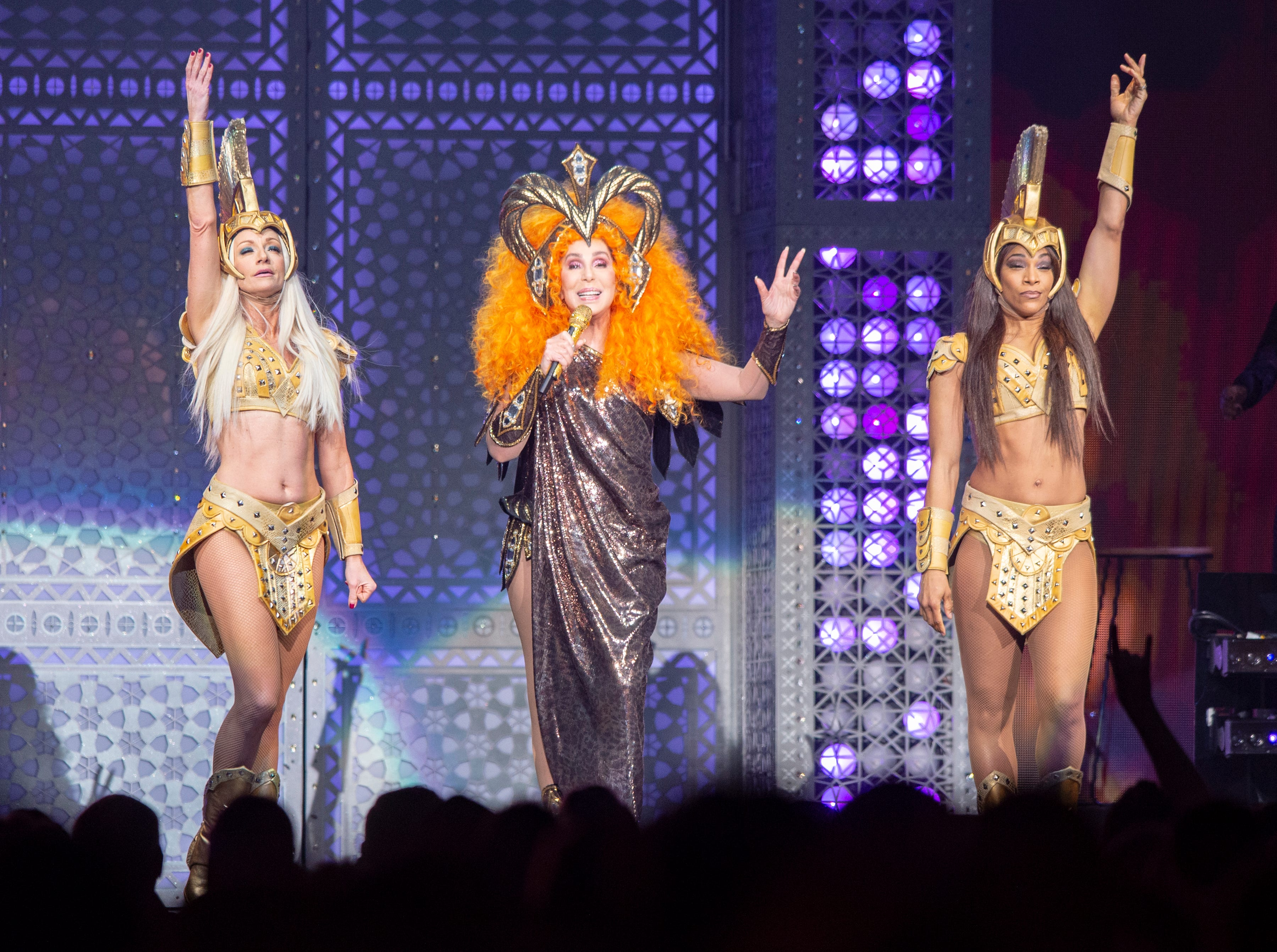 """Cher performed her """"Here We Go Again"""" tour at Bankers Life Fieldhouse in Indianapolis, Thursday, Feb. 14, 2019."""