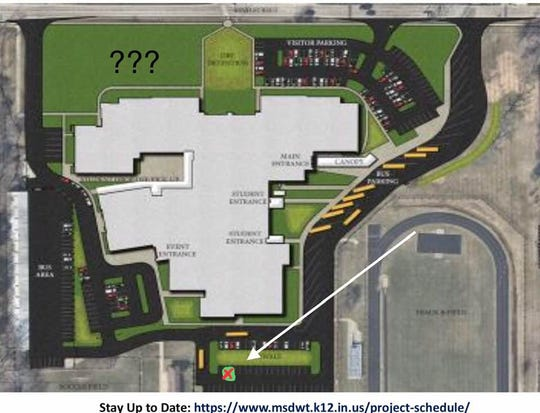 This shows the construction plans for Eastwood Middle School that would expand the school and put parking lots around the school, requiring the removal of the Bur Oak tree (in the bottom middle of the rendering).