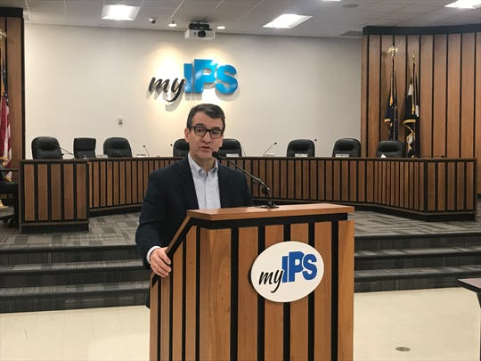 Michael O'Connor, president of the Indianapolis Public Schools board, speaking at the IPS headquarters on Friday, Feb. 15, 2019.