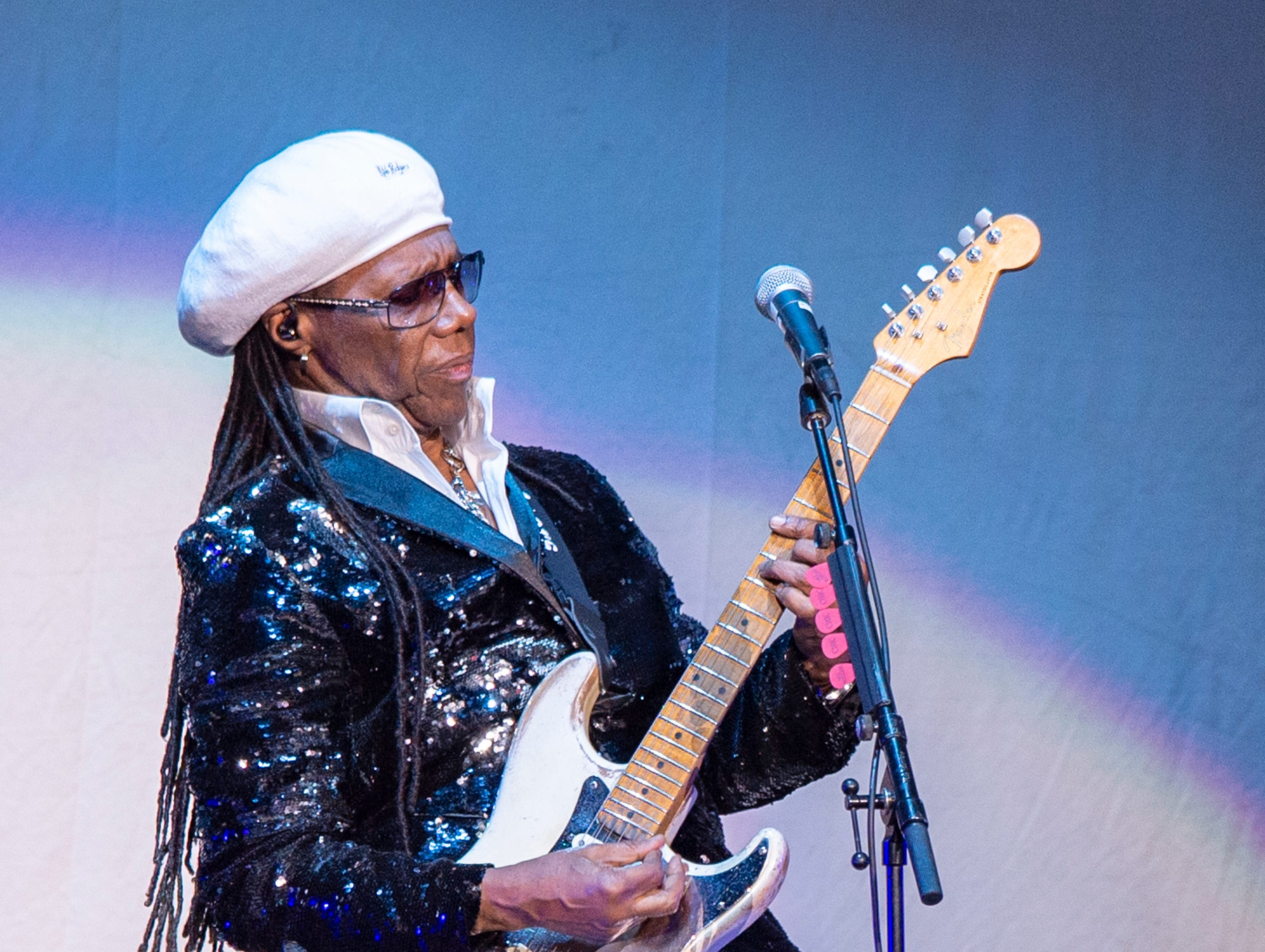 """Nile Rodgers & CHIC opened the evening for Cher's """"Here We Go Again"""" tour at Bankers Life Fieldhouse in Indianapolis, Thursday, Feb. 14, 2019."""