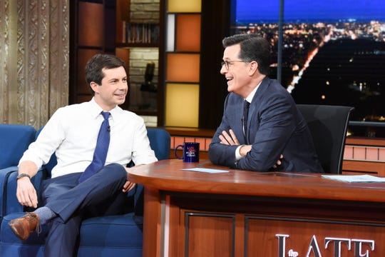 The Late Show with Stephen Colbert and guest  Pete Buttigieg during Thursday's February 14, 2019 show.