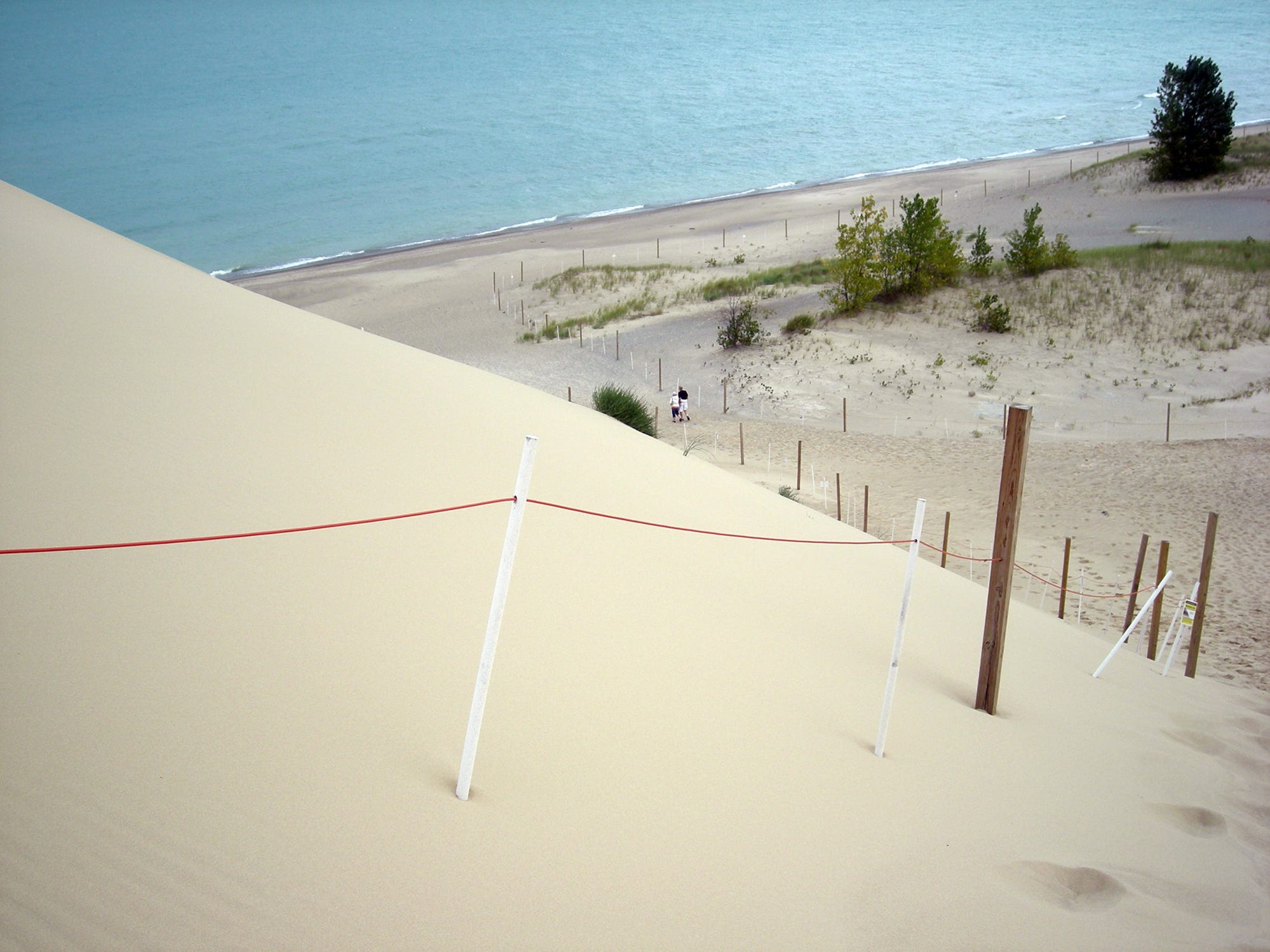 Geologists marked found another hole in Mount Baldy dune, measuring 7 inches wide and about 4-1/2 feet deep. Mount Baldy stands at the eastern end of the Indiana Dunes National Lakeshore east of Gary, Indiana.
