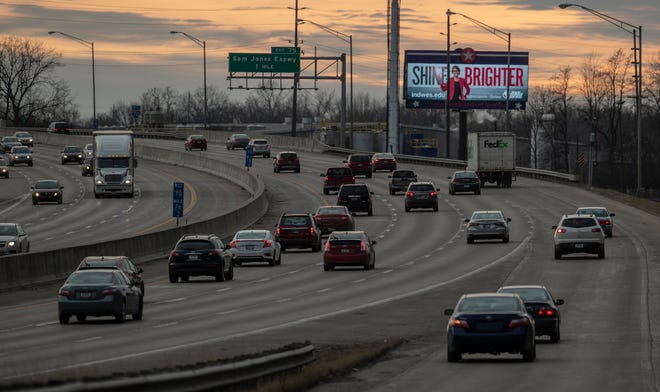 A digital billboard on Interstate 70, where it crosses West Morris Street on the city's west side, Indianapolis, Friday, Feb. 15, 2019. Digital billboards like this have attracted opposition from people who think they are eyesores.