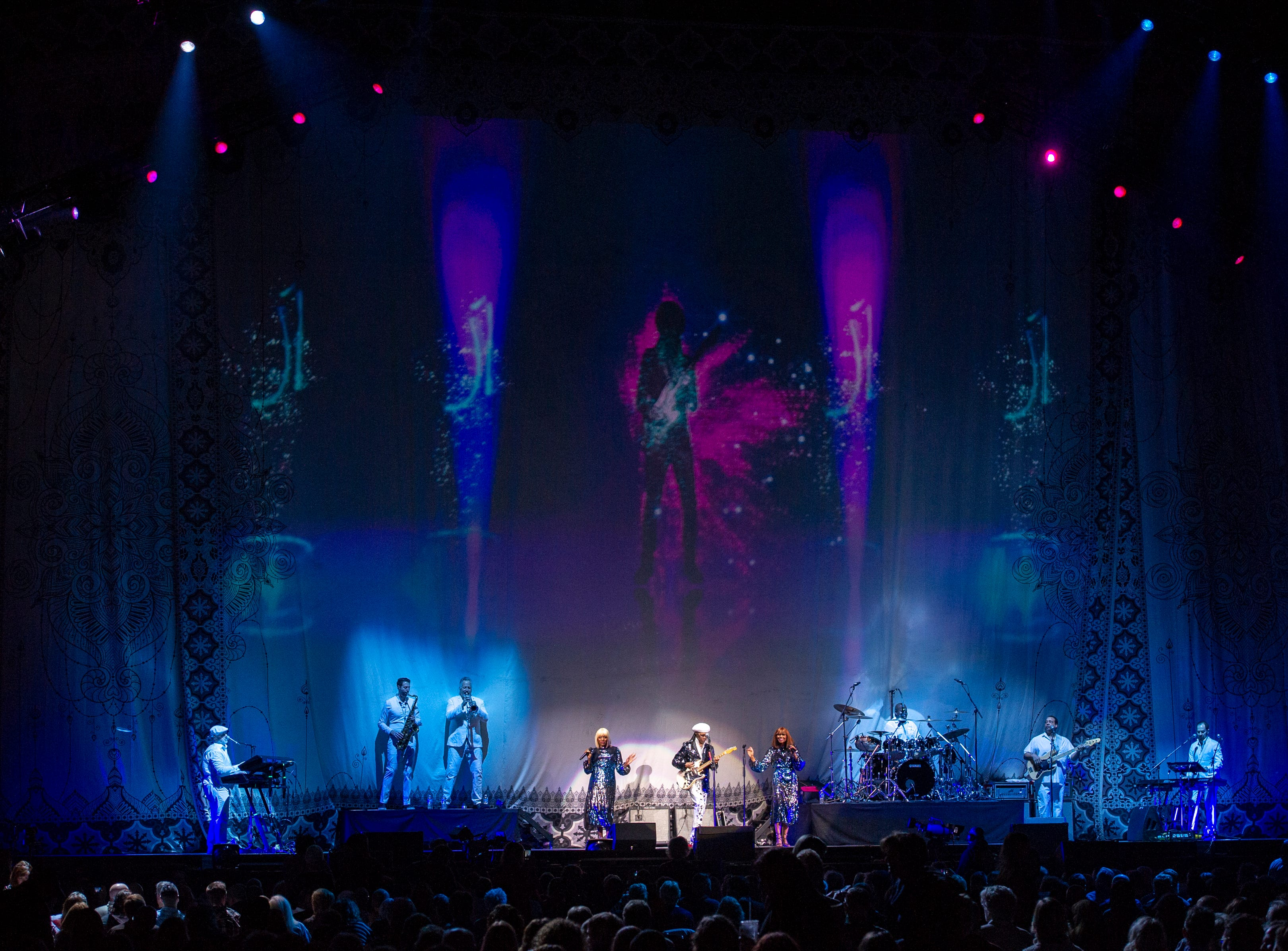 """Nile Rogers & CHIC opened the evening for Cher's """"Here We Go Again"""" tour at Bankers Life Fieldhouse in Indianapolis, Thursday, Feb. 14, 2019."""