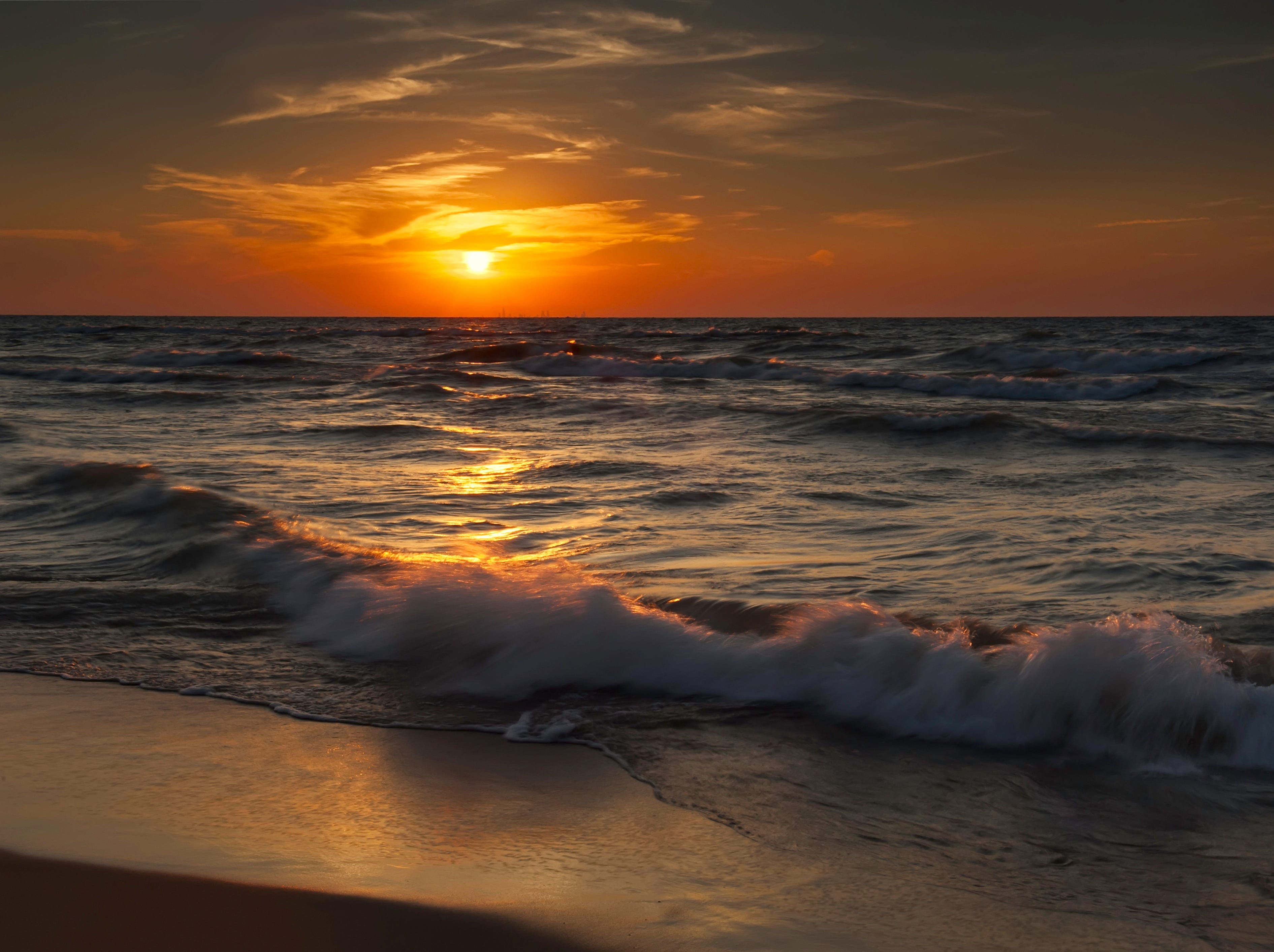 Sunset is the highlight at the Indiana Dunes National Lakeshore, which earned federal protection from an act of Congress in 1966. President Trump recently elevated its status to become the Indiana Dunes National Park.