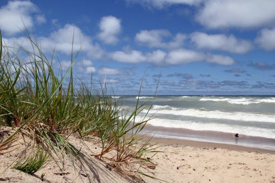 A beach at the former Indiana Dunes National Lakeshore, which was redesignated the Indiana Dunes National Park by President Trump.