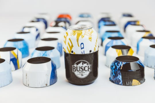The collector's edition Busch beer cans are composed of material from Kevin Harvick's 2018 NASCAR race car.