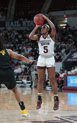 Mississippi State senior forward Anriel Howard was the Bulldogs' most effective player on offense against Missouri, but she hampered her ability to have more of an impact on the game by getting into foul trouble. Photo by Keith Warren