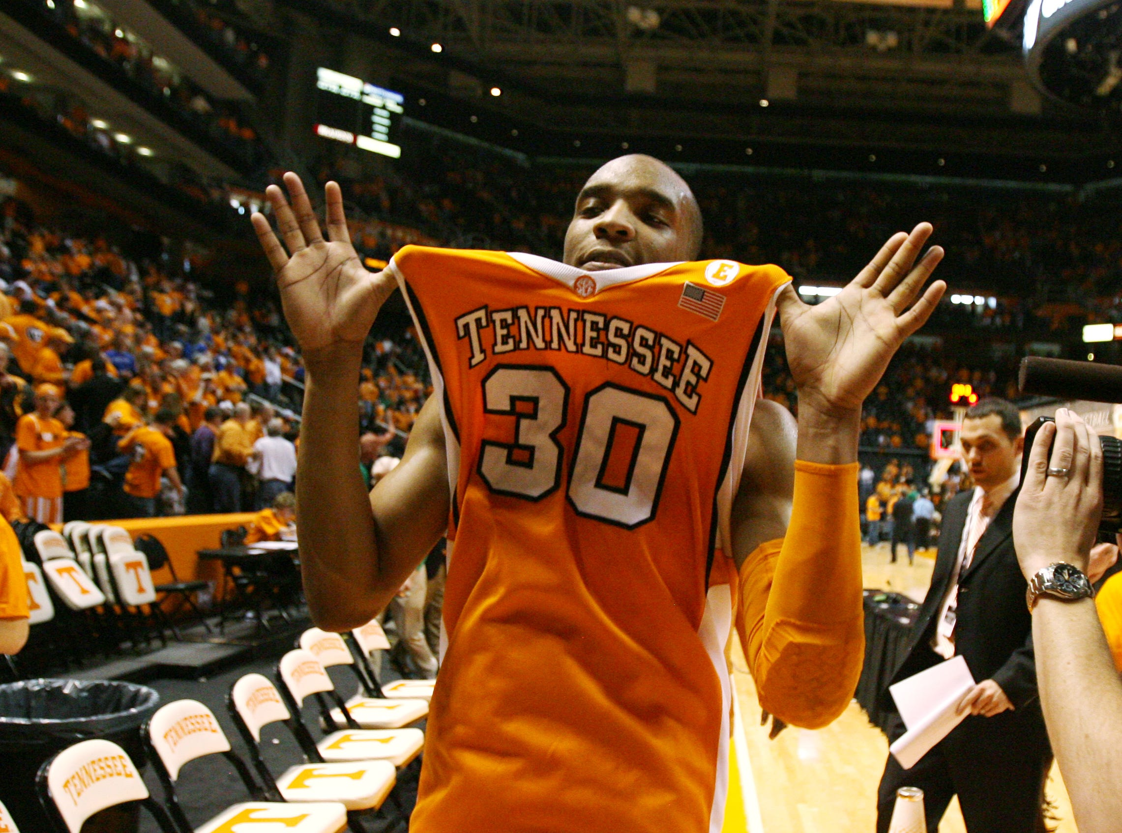 Tennessee guard J.P. Prince holds his jersey out after he led the Vols with 20 points to defeat the Kentucky Wildcats 74-65 at Thompson-Boling Arena Saturday, Feb. 27, 2010.