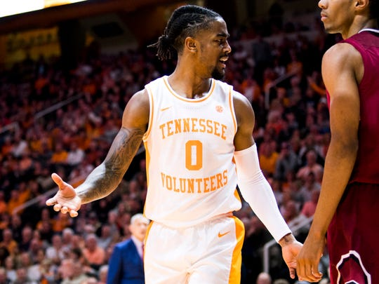 Tennessee guard Jordan Bone (0) reacts incredulously to a foul called by a referee during Tennessee's home game against South Carolina at Thompson-Boling Arena on Wednesday, February 13, 2019.