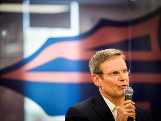 Tennessee Gov. Bill Lee answers a question during a roundtable event at South-Doyle High in South Knoxville on Friday, February 15, 2019.